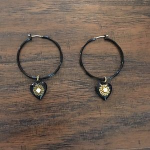 Betsy Johnson earrings. Black and gold, NWOT.